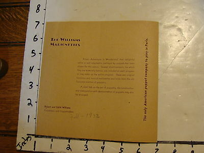 Vintage MARIONETTE Paper: 1932 THE WILLIAMS MARIONETTES  brochure