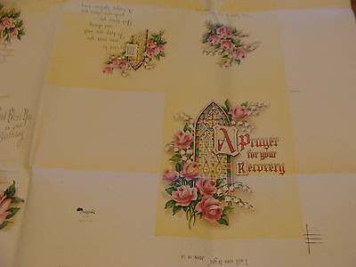"""1955 Printing Sample Poster: UNCUT FAIRFIELDS GREETING CARDS , 25X31""""; #6374"""