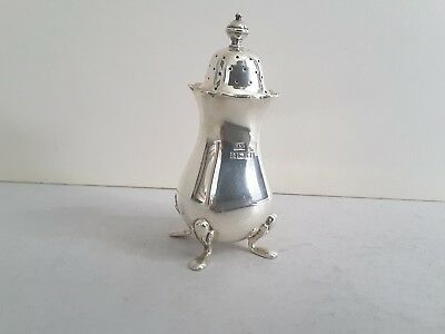 Good Vintage Solid Silver Pepper On 4 Legs.    W. & H.   Birmingham 1956.