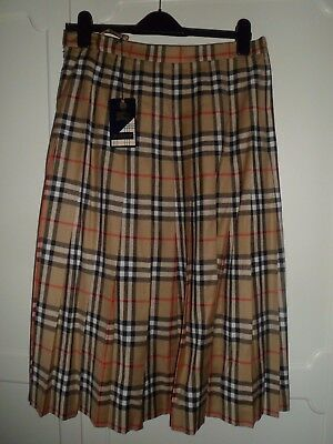 Ladies Vintage BURBERRYS Burberry NOVA Check Tartan Wool Pleated SKIRT Kilt 16 L
