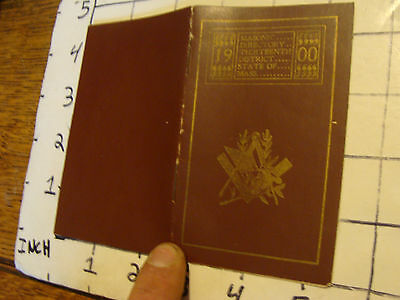 Original Vintage paper: 1900 Masonic directory 13th district of Mass, 24 pages