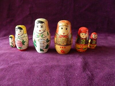 2X Old Wood Russian Doll Figure Sets Matryoshka Babushka Ladies