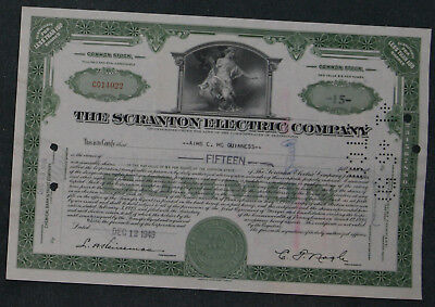 The Scranton Electric Company 1949 15 Shares .