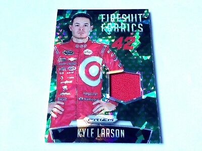 Kyle Larson 2016 Panini Prizm FF Green Cracked Ice Refractor RaceU.Firesuit #/99