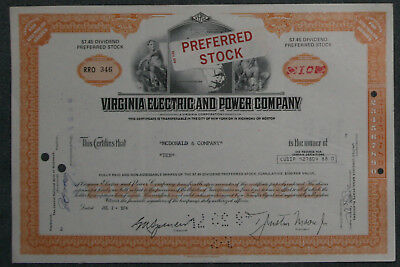 Virginia Electric and Power Company 1974 10 Shares .