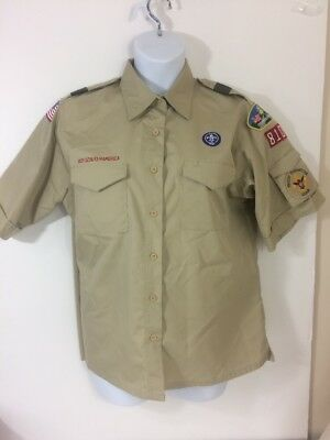 Boy Scouts of America Women's Uniform Shirt With Patches  Blouse Sz XL NICE