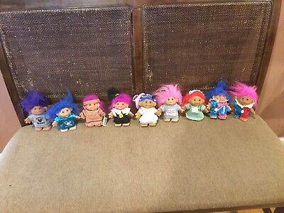 Vintage Lot of 9 Troll Dolls  5 inches tall