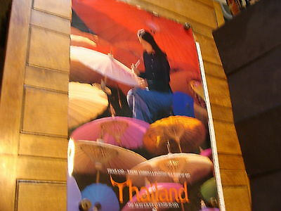 """THAILAND POSTER Approx.23.5 x 36"""" ca 1980s """"Umbrella Painting"""""""