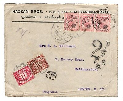 1923 Egypt to GB underpaid with 2 1/2d postage due