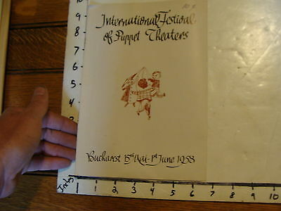 Vintage MARIONETTE Publication: 1958 International Festival of Puppet Theaters