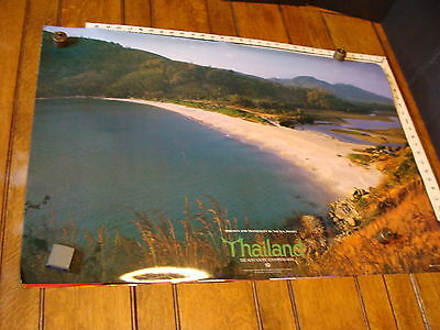 """THAILAND POSTER Approx.23.5 x 36"""" ca 1980s """"Tranquility by the Sea"""""""