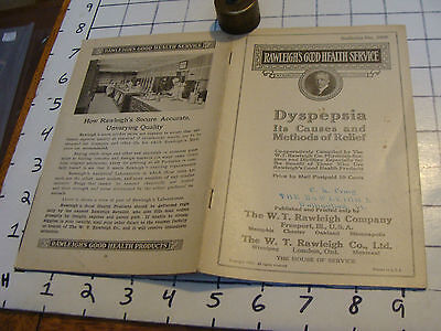 1921 Rawleigh's Good Health Service booklet: DYSPEPSIA, 16 pages