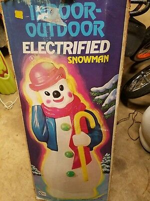 1972- Empire - Red Derby Hat Snowman Blue Coat - Blow Mold candy cane with box
