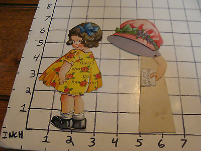 vintage die cut Moving Valentines day card 1920's or so: GUESS WHAT I HAVE FOR U