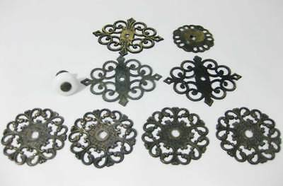 Antique Art Nouveau Brass Dresser Cabinet Drawer Plates Ornate Allison Japan (9)