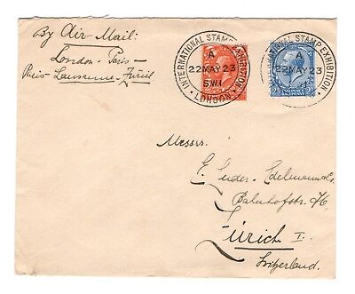 1923 early airmail cover to Switzerland from the International Stamp Exhibtion