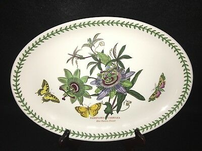 "Portmeirion The Botanic Gardens BLUE PASSION FLOWER Large 13"" OVAL PLATTER"