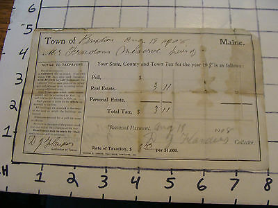 1908 MAINE TAX, town signed,  Buxton maine