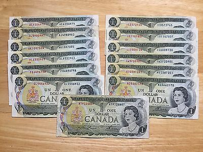 13 All different Prefix 1973 Lawson & Bouey 1 Dollars Canadian bank notes USED