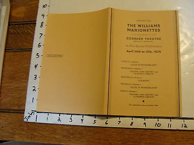 Vintage MARIONETTE Publication: 1934 the WILLIAMS MARIONETTES cornish program