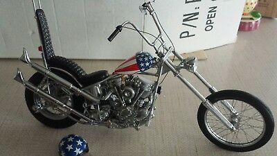 Franklin Mint Harley Davidson motorcycle, Easy Rider, Captain America, 1:10,...