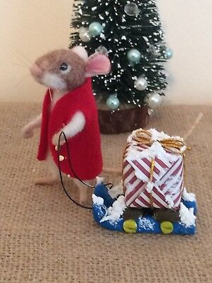 """Needle Felted Mouse """"Xmas Eve"""" Handmade Mice Doll Bear Animal Ooak By Suzanne X"""