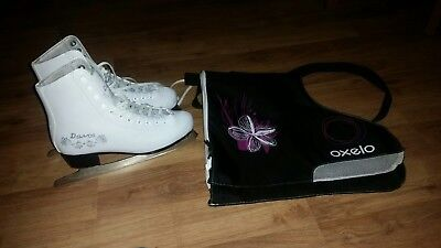 Figure skates in white size 3 with bag