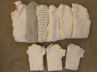 John Lewis And Waitrose Newborn & 0-3 Months Sleepsuits Babygrows Vests Job Lot