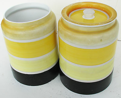 Two Gray's Pottery Colour Banded Kitchenware Storage Jars Pots