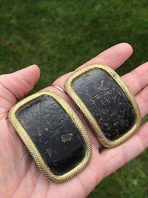 Pair Of Decorative Gilded Steel Antique Georgian Shoe Buckles