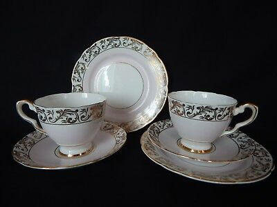 Royal Stafford ~2 Vintage Baby Pink , White & Gold Trios ~  Cup Saucer Plates