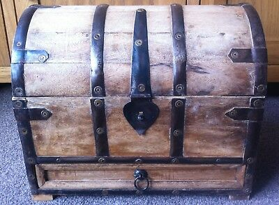 Small Antique Rustic Iron and Rivet Unfarnished Wooden Chest + Drawer (Oak?)