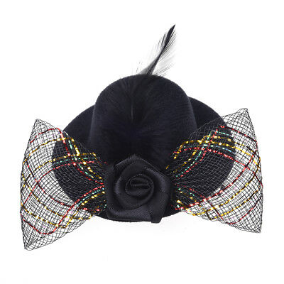 Feather Hair Clip Flower Bow Black Mini Top Hat Party Lolita Cosplay Goth P I4E6