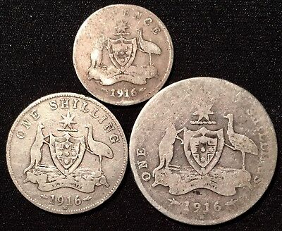 1916 Australia SILVER 6 Pence Sixpence & Shilling & Florin - RARE DATE, LOT OF 3