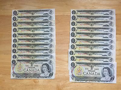 20 1973 Crow & Bouey 1 Dollars Canadian bank notes USED All different Prefix