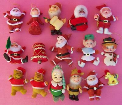 Vintage Lot of 16 Flocked Santa Claus Mrs Claus + More Christmas Ornaments