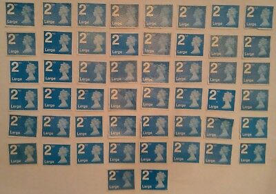 50 x 2ND SECOND CLASS LARGE LETTER STAMPS UNFRANKED OFF PAPER WITH MINOR FAULTS