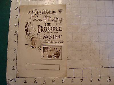 ORIG MOVIE brochure: 1910's THE DISCIPLE wm. s Hart  some wear as shown