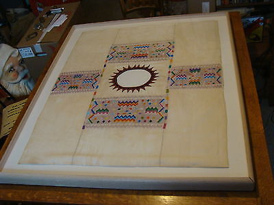 early Framed and mounted MAYAN HUIPIL scarce mostly white GREAT