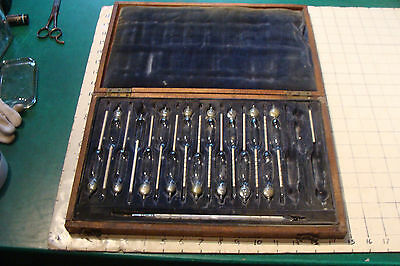 vintage 1800's teaching set of 15 Standard Hydrometers and Celsius thermometer