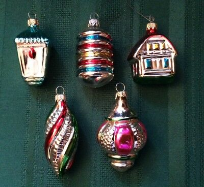 Vintage Christmas Glass Ornaments Lot Of 5 Made In Colombia