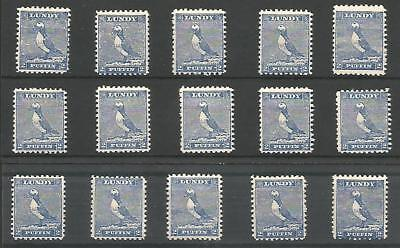 GB LOCALS LUNDY 2p BLUE x 15 VALS UM MINT STAMPS