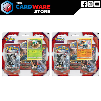 Pokemon TCG - Crimson Invasion 3-Pack Blister Set of 2 | Decidueye & Lucario | S