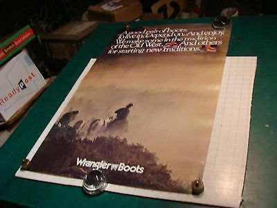 """original vintage Poster: WRANGLER BOOTS 23 X 36"""" from the 1980's"""