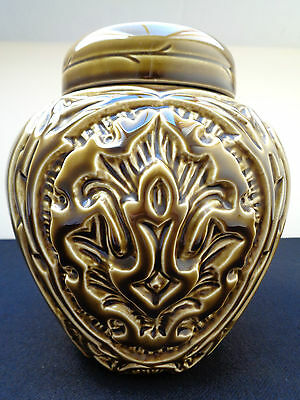 Beautiful No 2296 Beswick Olive Green Lidded Ginger Jar With Raised Pattern