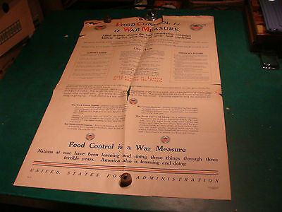 Original WWI Poster:FOOD CONROL is a  WAR MEASURE