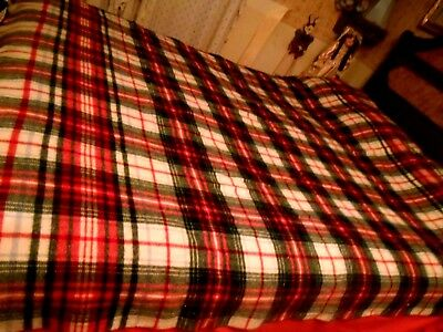 Vintage Bold Bright Plaid Soft Wool Blanket Red Black White