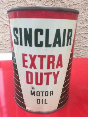 Vintage Sinclair Dino Extra Duty Motor Oil Metal Tin Can Quart Red Green