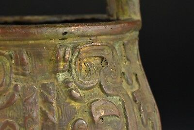 Antique Chinese Archaic Bronze Tri Footed Handled Vessel Ding