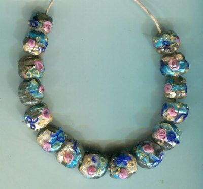 African Trade beads Vintage Venetian old glass beads small foil wedding cake
